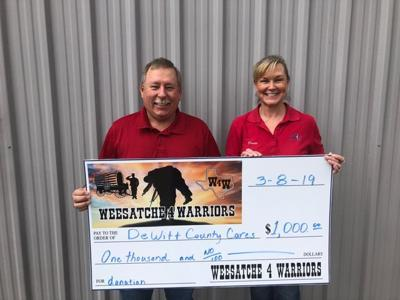 Weesatche 4 Warriors makes donation to DeWitt County Cares-Supporting Our Military