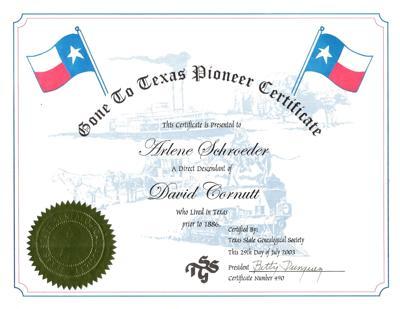 My History: Gone to Texas Pioneer Certificate for David Cornutt
