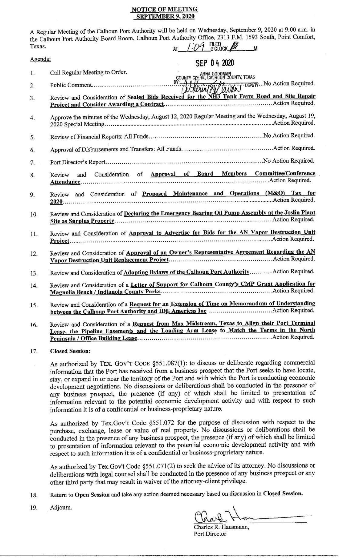 Calhoun Port Authority Meeting Packet- Sept. 9