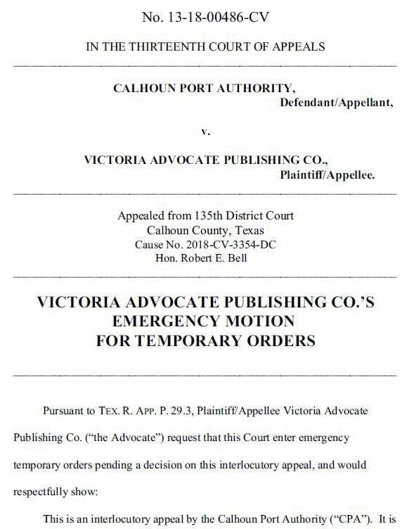 Photo of court document