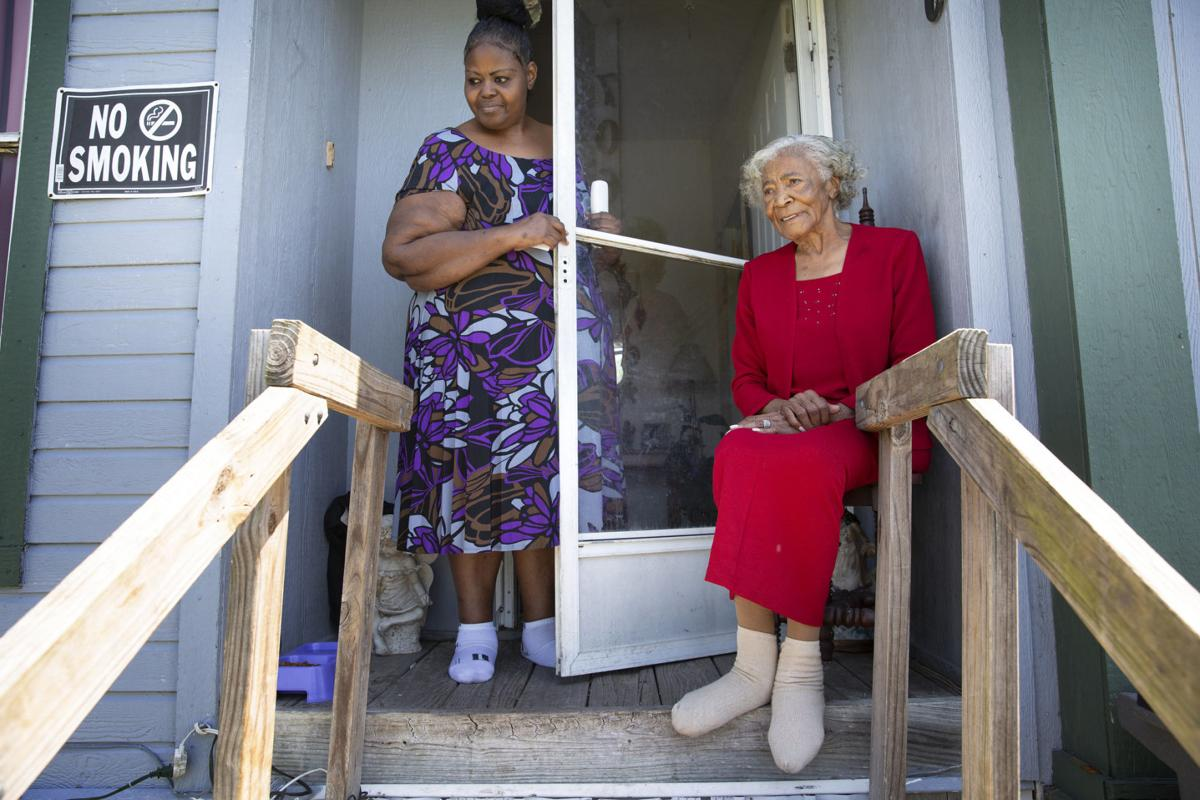 Pearlie Mae White and her daughter Inez Perry after Hurricane Harvey