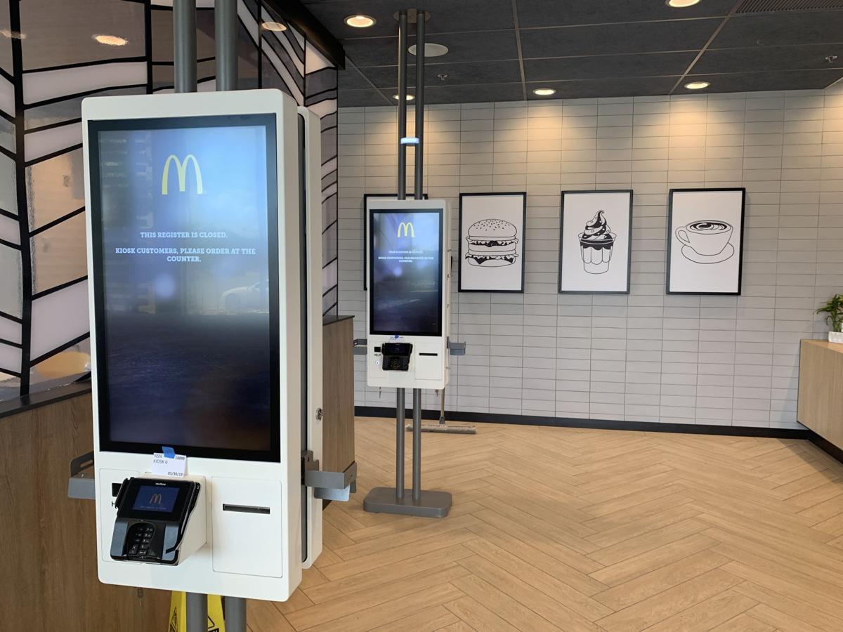 Ordering kiosks at renovated McDonald's on Navarro