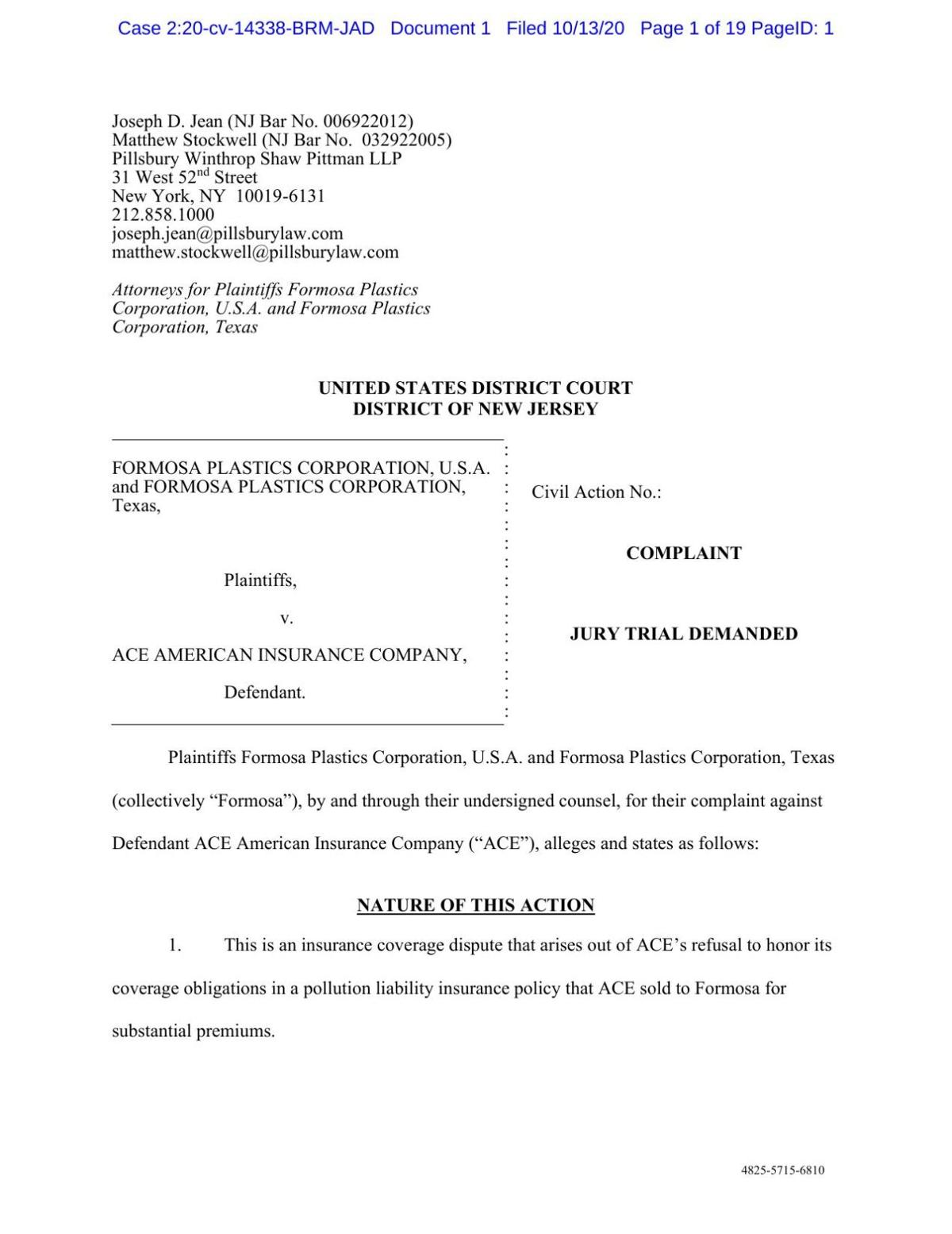 Lawsuit filed by Formosa