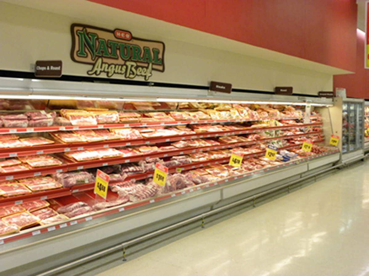 Meat case at H-E-B
