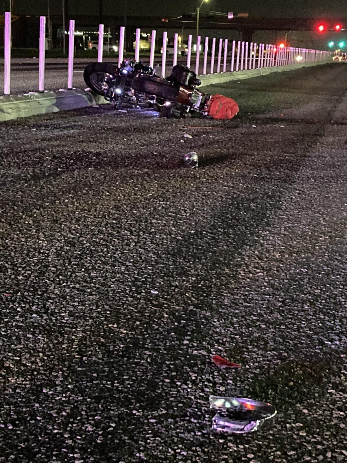 Motorcycle crash at The Texan