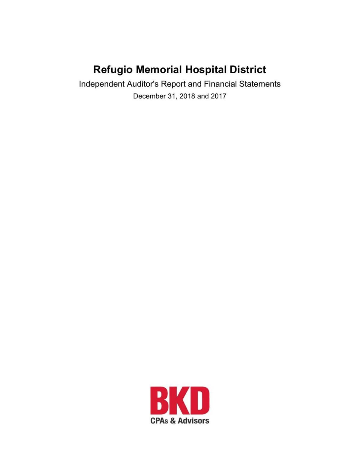 Refugio Memorial Hospital 2018 audit