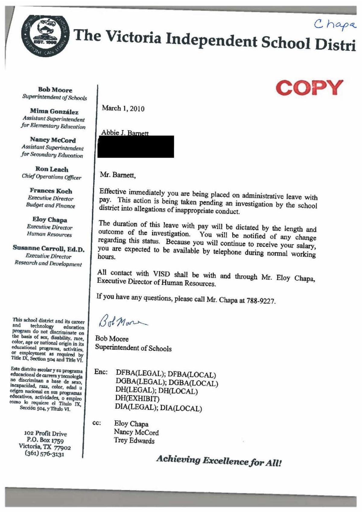 VISD investigation into Barnett
