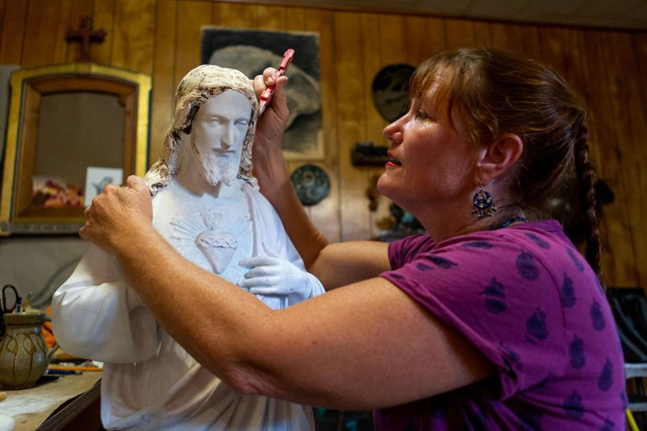 Artist restores McFaddin Church sculptures damaged by Harvey (w/video)