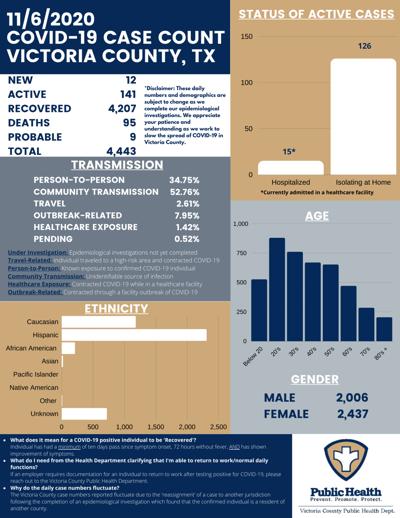 Victoria County COVID-19 demographics for Nov. 6