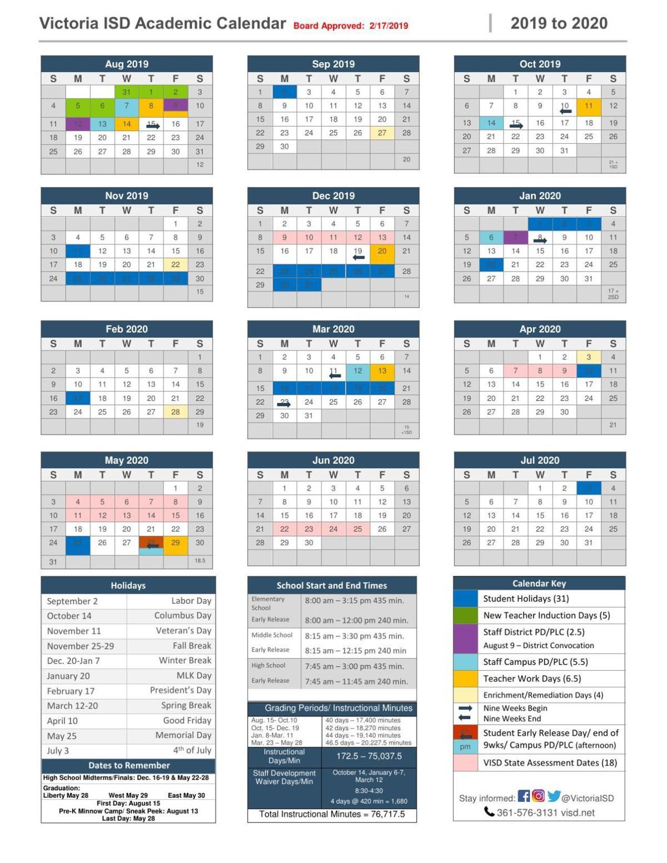 Uh Calendar Fall 2020 Victoria ISD Academic Calendar 2019 2020 | | victoriaadvocate.com