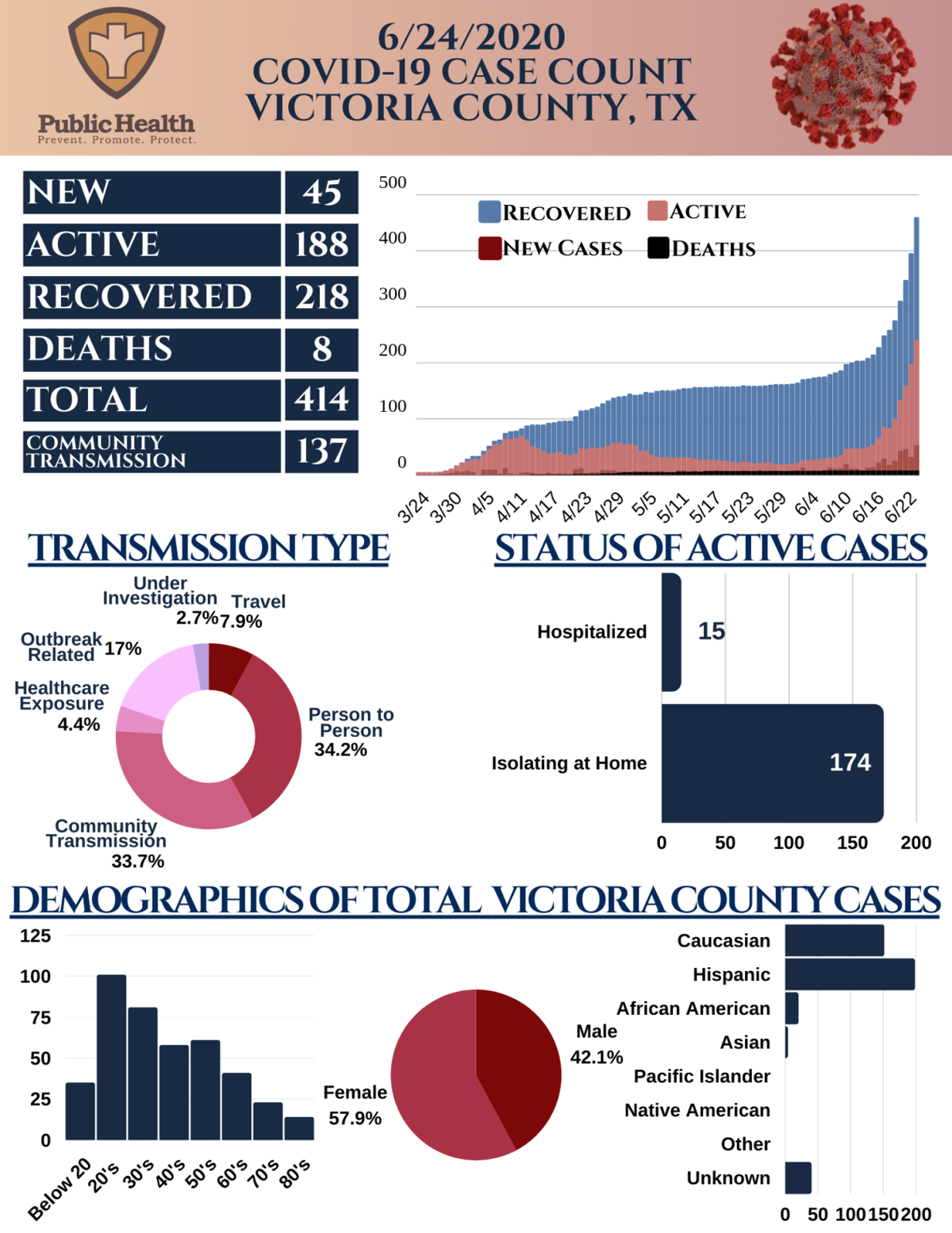 Victoria County daily case numbers June 24