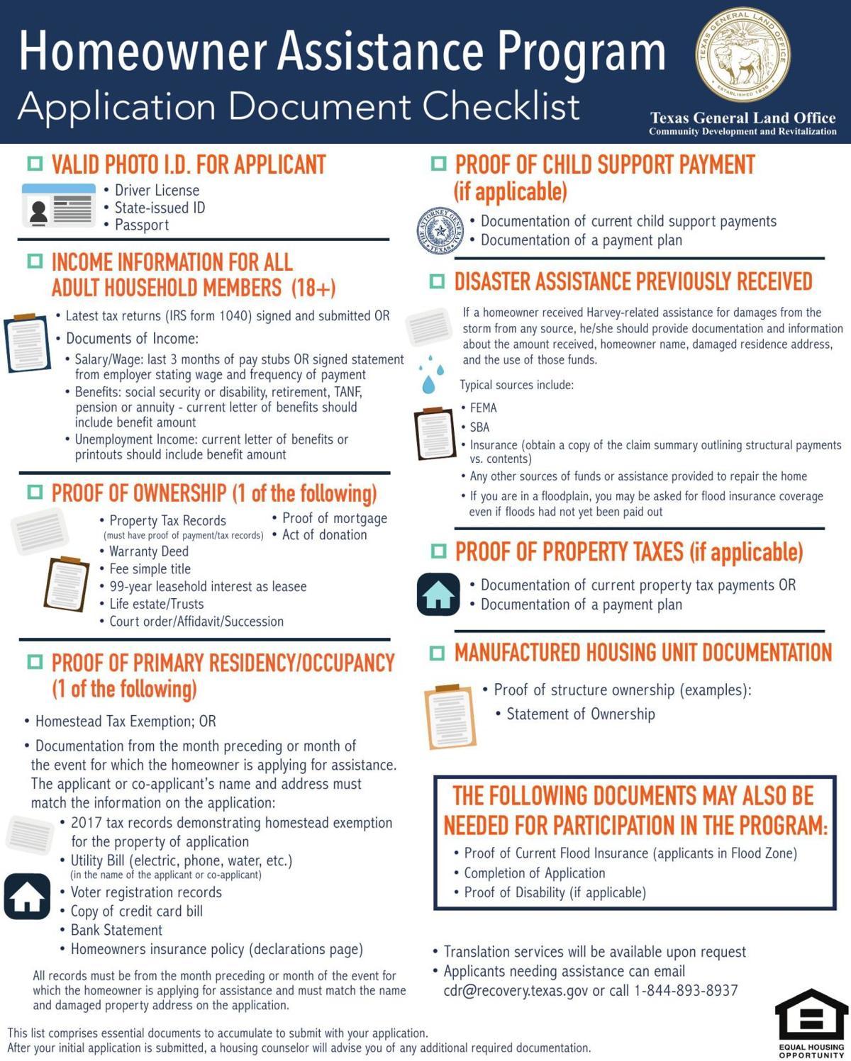 Homeowner Assistance Program checklist