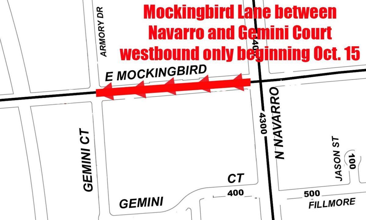 Part of Mockingbird Lane to be reduced starting Tuesday