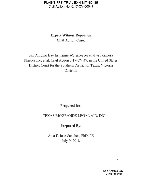 Waterkeeper expert report on Formosa