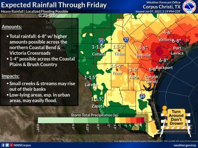 Expected rainfall through Friday