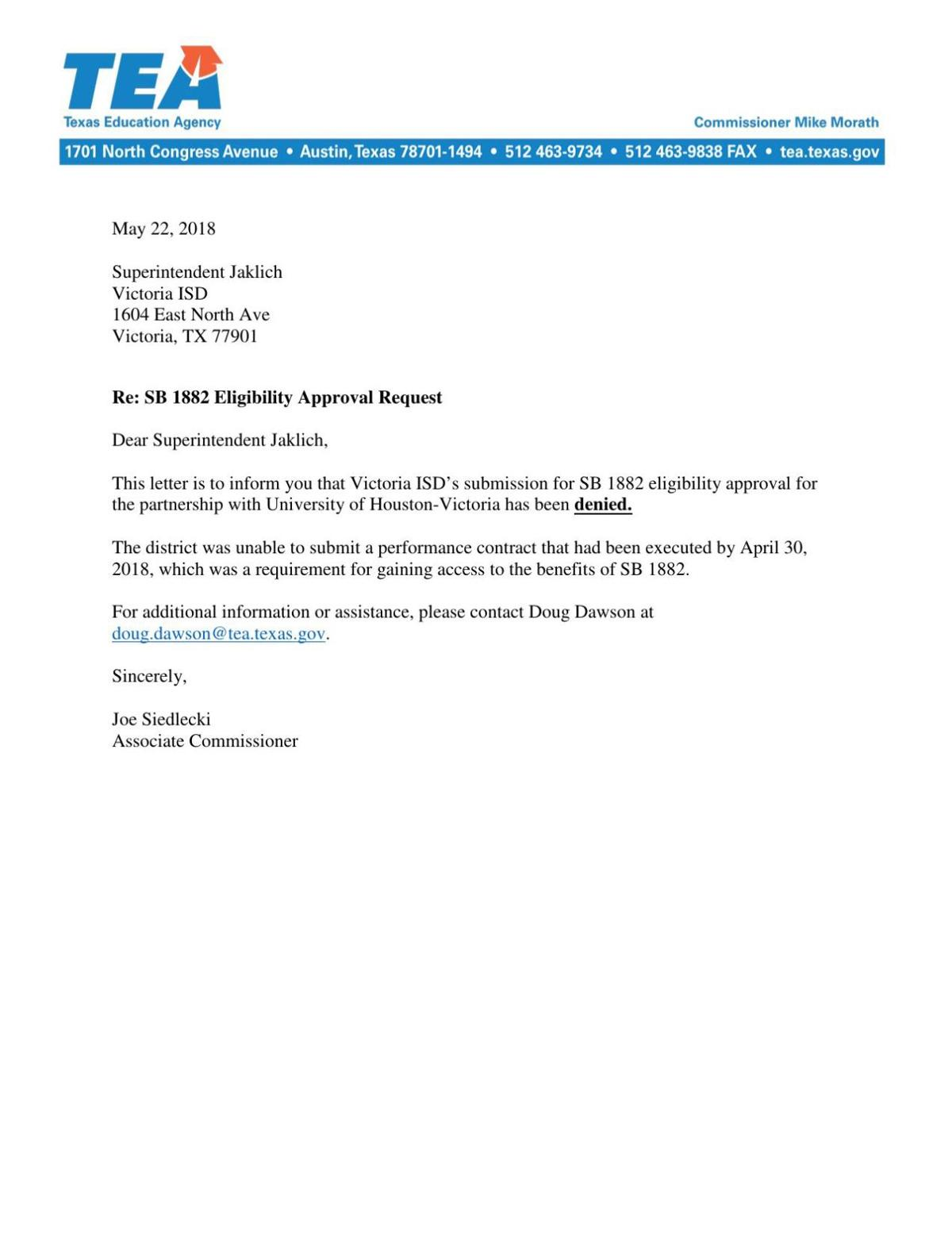 Texas Education Agency rejection letter to Victoria school district
