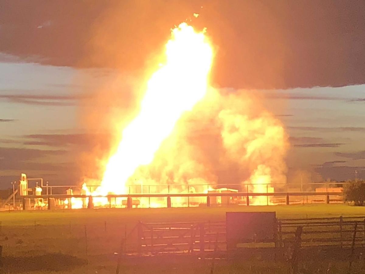 Kinder Morgan gas facility burns near Runge