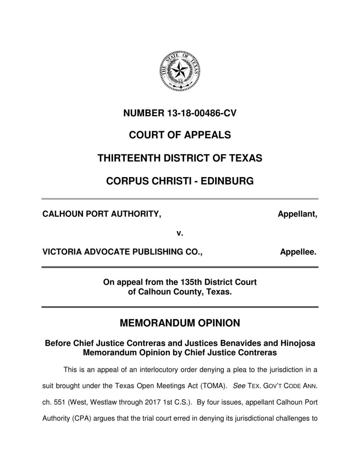 Opinion explaining 13th Court of Appeals' decision to dismiss port lawsuit