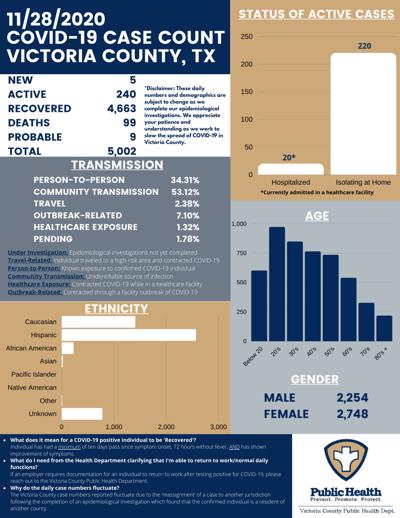 Victoria County COVID-19 demographics for Nov. 28