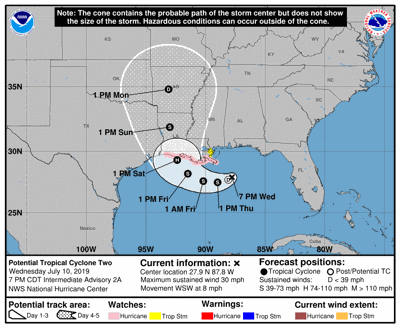Disturbance not expected to hit South Texas
