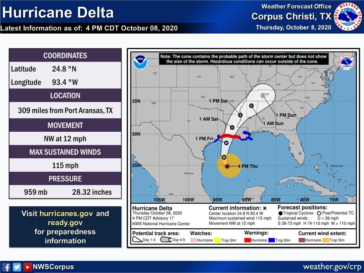 Hurricane Delta tracking map