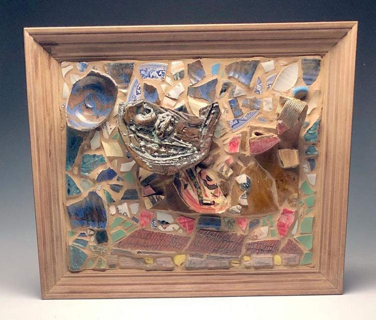 Chris Leonard ceramic art and paintings display