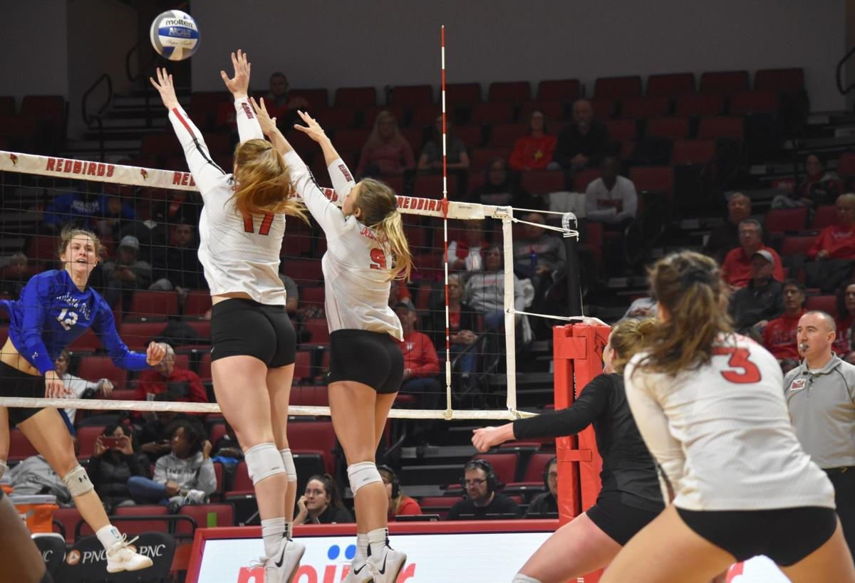 Volleyball vs Indiana State block