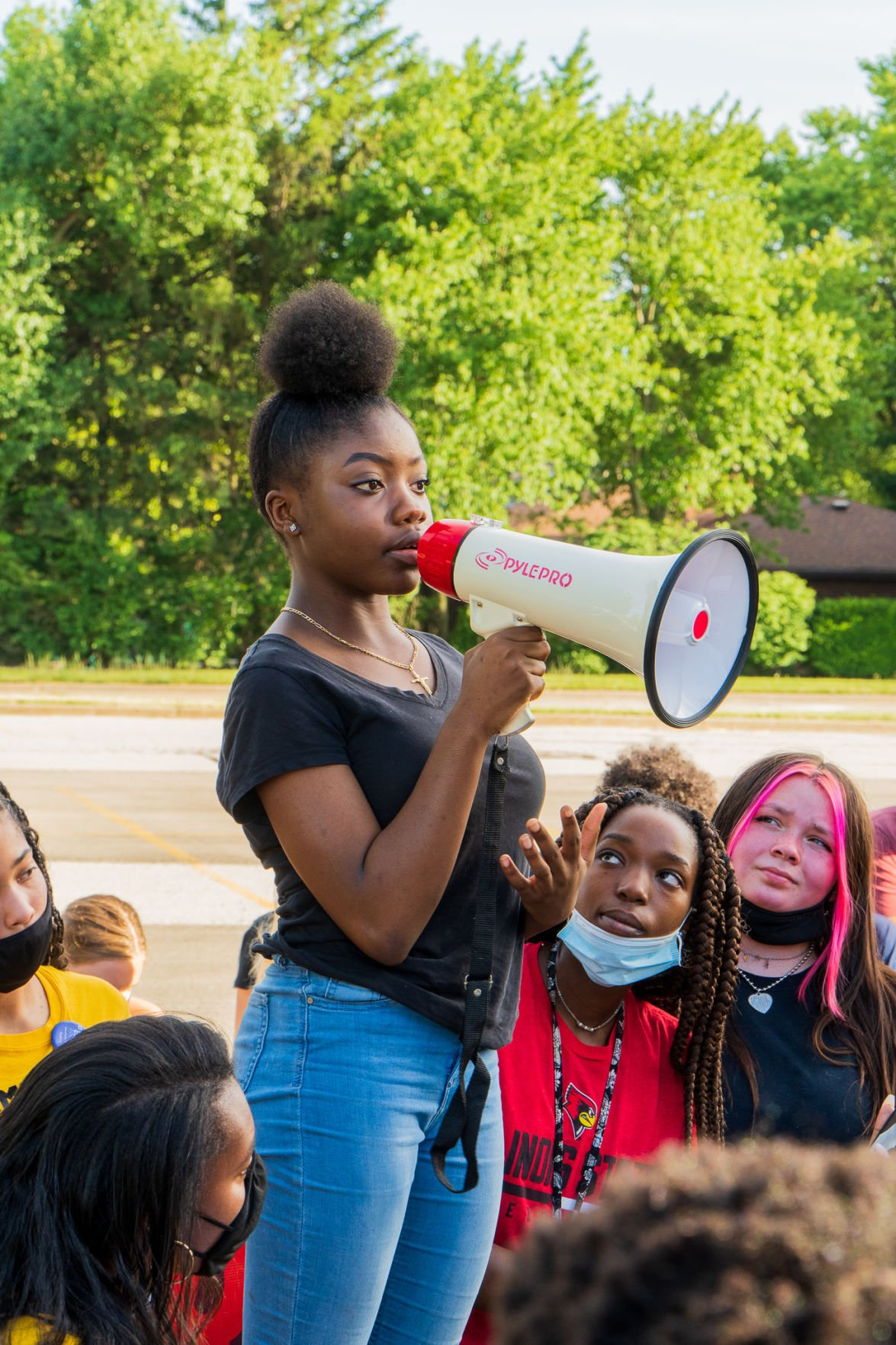 Tania Boomo at Normal Community West High School Protests