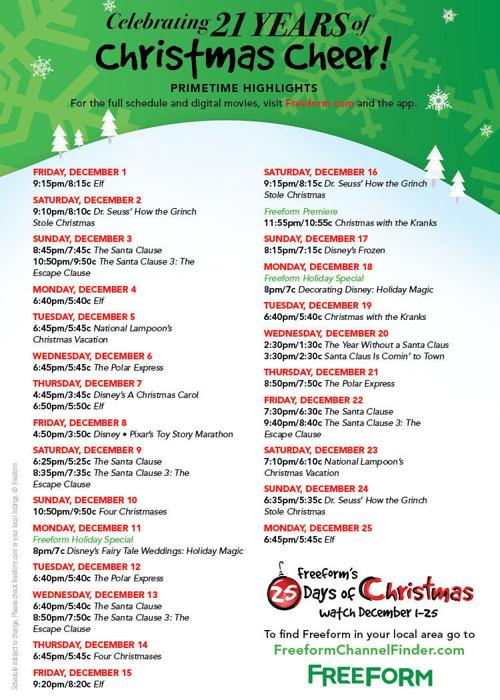 Freeform Christmas Schedule.Freeform S 25 Days Of Christmas Schedule Videtteonline Com
