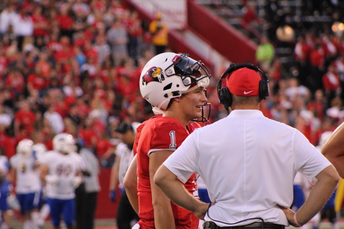 redbirds vs morehead football brady davis and coach spack