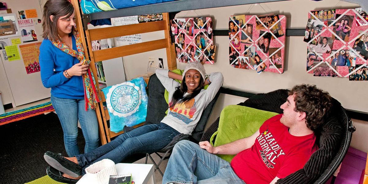 Students lounging in their dorm