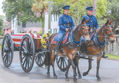 Fitzgerald's mule-drawn caisson honors fallen veterans