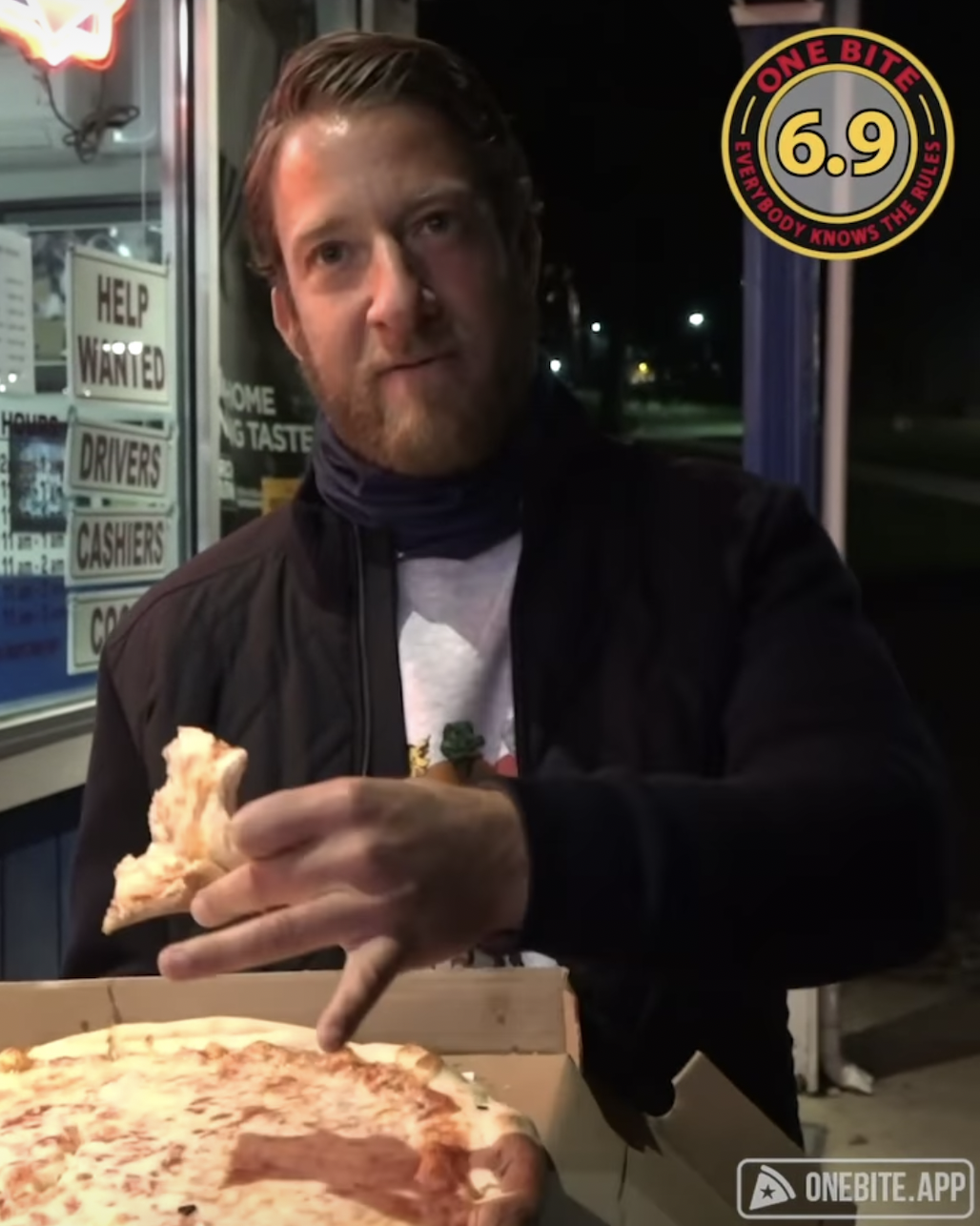 Dave Portnoy eats a slice from Campus Corner Pizza and rates it a formidable 6.9.