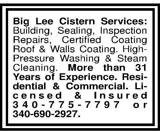 Big Lee Cistern Services: Building, Sealing, Inspection Repairs, Certified Coating