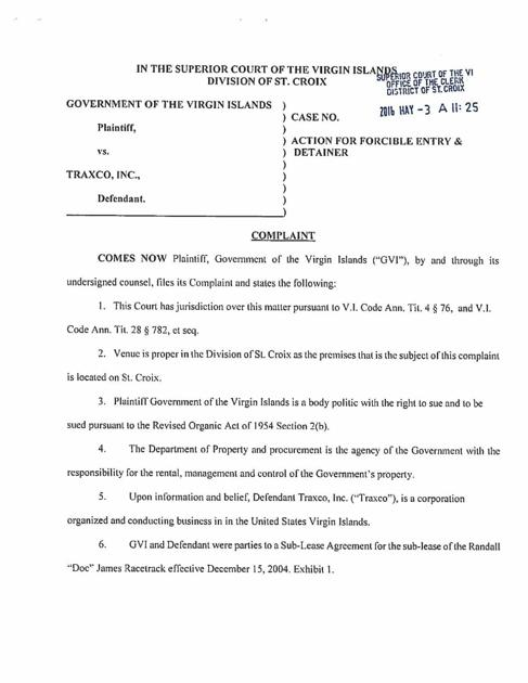 Complaint Against Traxco Virginislandsdailynews