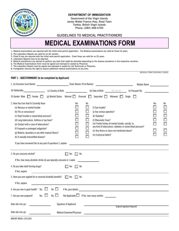 BVI medical form | News | virginislandsdailynews.com