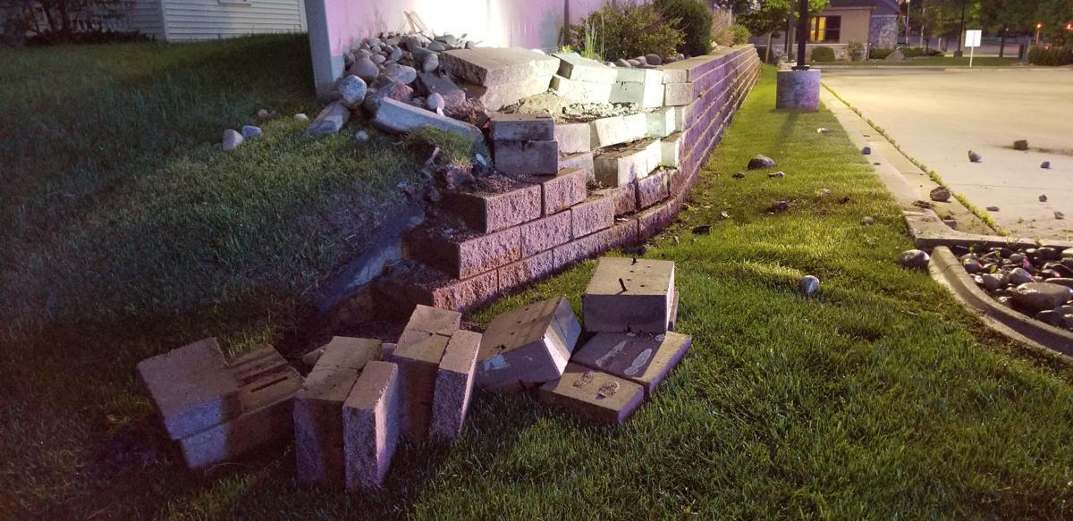 Retaining wall damaged following crash