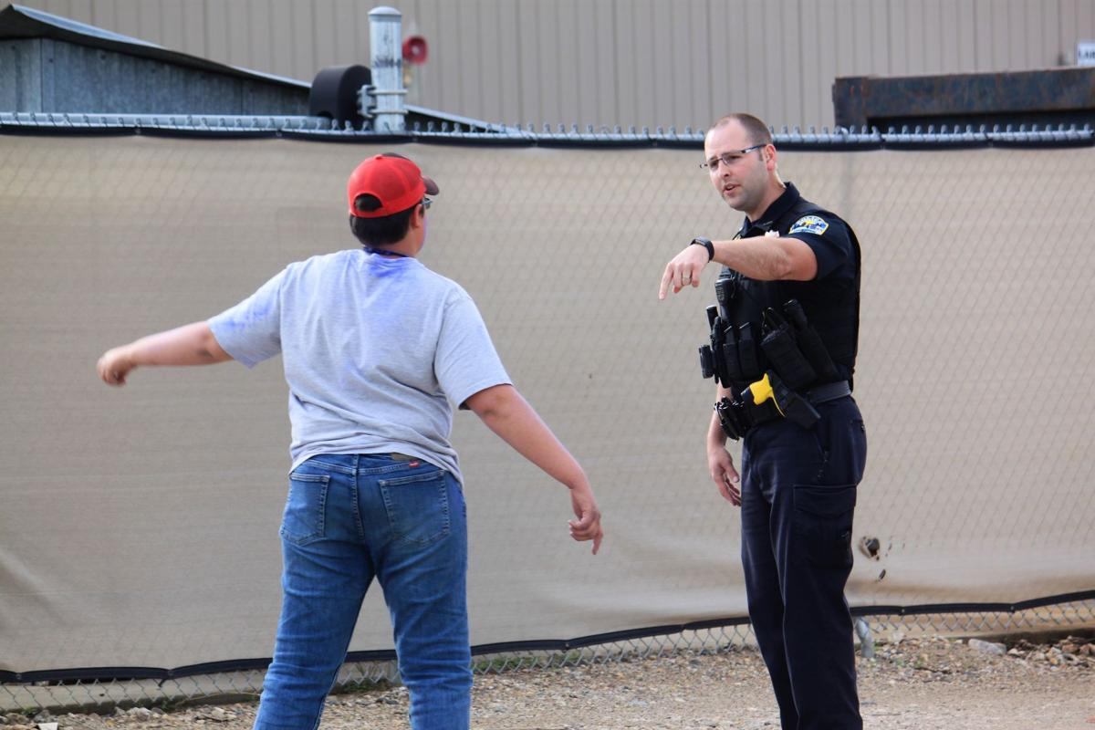 Officer tries to handle chemical situation