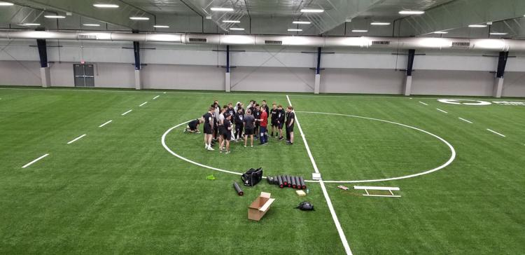 Turf in the NorthStar Sports Complex fieldhouse