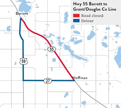 Hwy 55 from Barrett to Hoffman to remain closed through winter