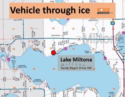 Vehicle goes through ice on Lake Miltona | Local News ... on map of lake irene alexandria, map of virginia state parks, map of kettle river mn, round lake mn, lake miltona woodland resort mn, sand lake mn, ottertail lake mn, rainy lake mn, saganaga lake mn, lake lida mn, deer lake mn, lakes near alexandria mn, east battle lake mn, sawbill lake mn, map of gunflint trail lodges, wolf lake campground mn, reference map mn, battle of wood lake mn,