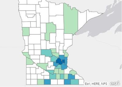 Minnesota Department of Health Coronavirus Map on March 23rd