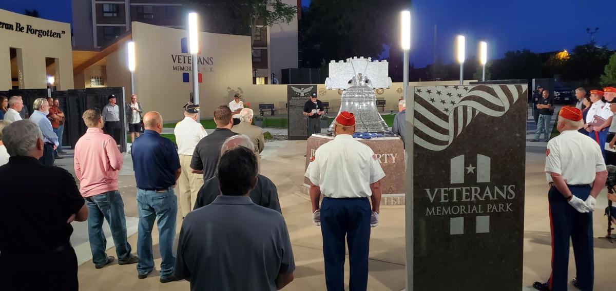 Veteran Ken Voigt addresses crowd