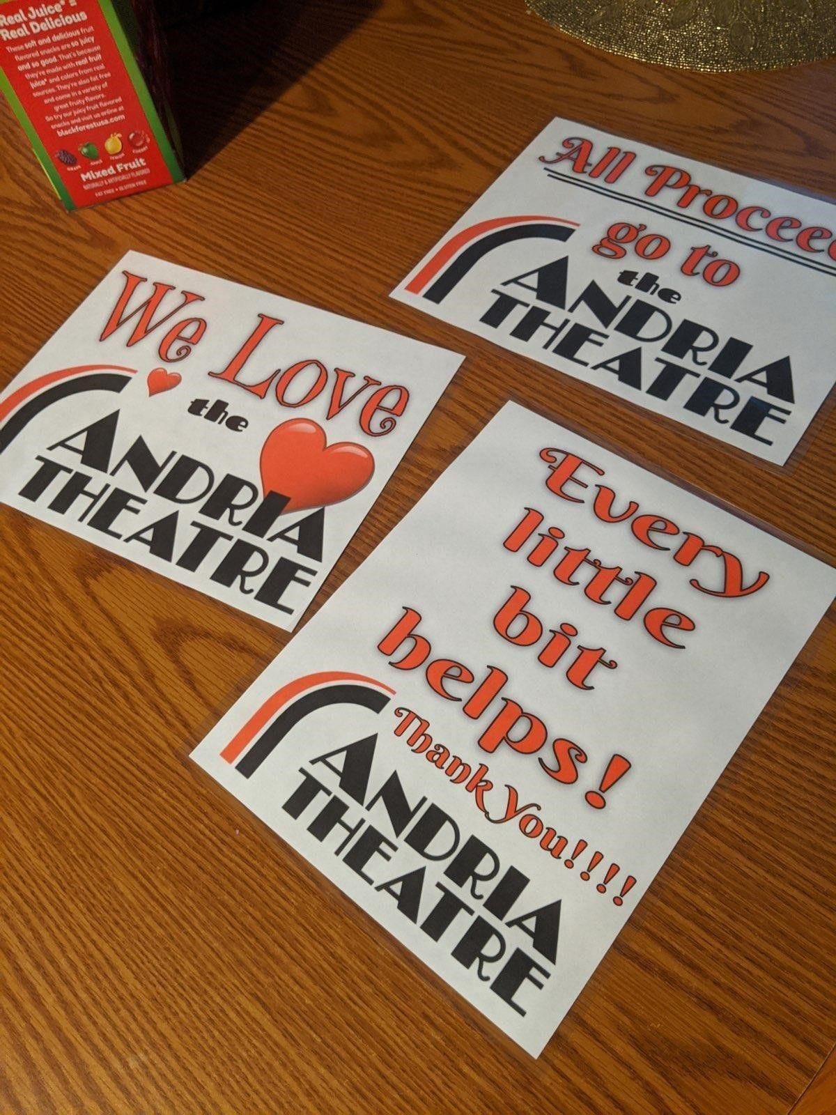 Signs show their support for theatre