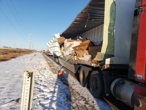 One of two semis involved in I-94 collision near Ashby