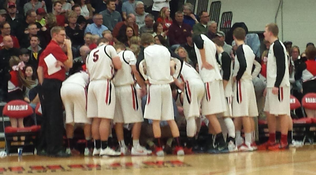 Cardinal Boys' Basketball huddle