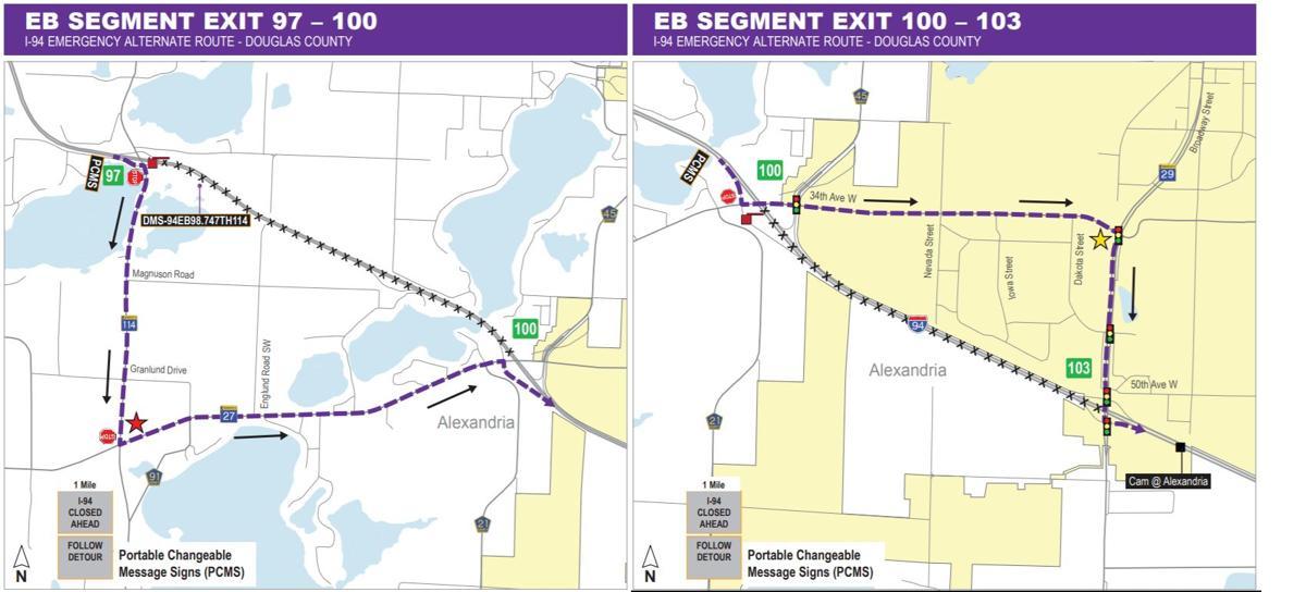 Temporary closures of Interstate 94 between Alexandria and Garfield