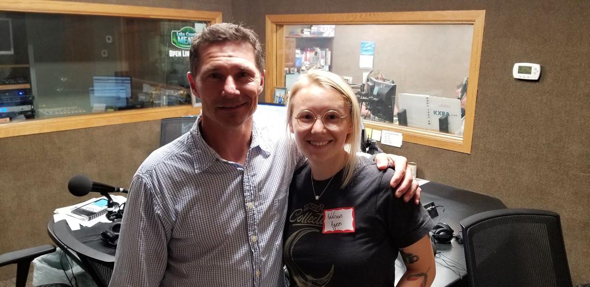 Addison Agen visits KXRA studio