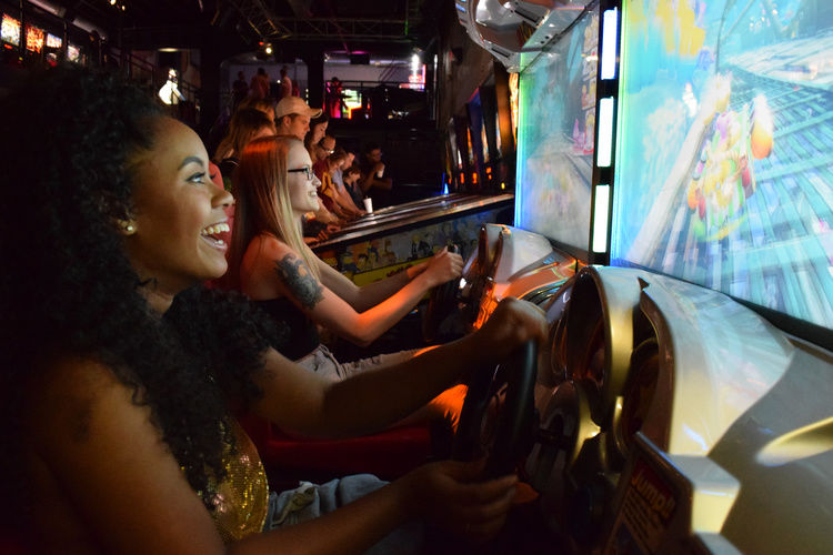 Silverball girls playing Mario Kart
