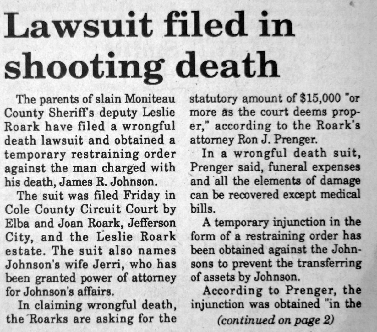 Lawsuit filed in shooting death news clipping